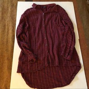 Topshop | Cotton Gauze Plaid Button Top Shirt 6